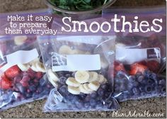 Cut fruit ahead of time to have smoothies on hand. Check out the secret healthy ingredients to add without the kids even realizing they are in them.