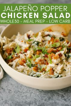 This Jalapeño Popper Chicken Salad is a quick, easy, and flavorful lunch that you can prep ahead and pack all week. Enjoy the flavor of a jalapeño popper in a simple salad for lunch! recipes with chicken Paleo Recipes, Whole Food Recipes, Cooking Recipes, Kitchen Recipes, Easy Recipes, Low Carb Meal, Cobb, Whole Foods, Clean Eating