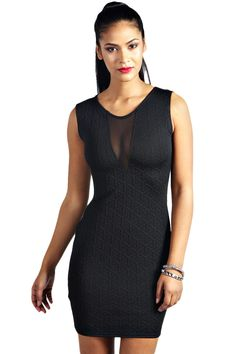 Black Textured Mesh Front Bodycon Dress 04af122d7