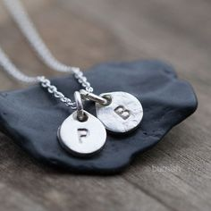 Silver Monogram Necklace / Two Initials Hand Stamped Charms Coin Discs  / Sterling Silver Personalized Necklace