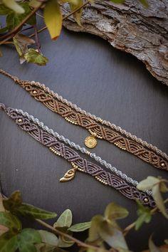 Macrame Bracelet Patterns, Macrame Necklace, Macrame Patterns, Macrame Jewelry, Macrame Bracelets, Diy Necklace, Boho Jewelry, Jewelery, Micro Macramé