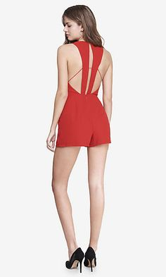 RED STRAPPY V NECK ROMPER White Romper, Black Jumpsuit, New Wardrobe, All About Fashion, Everyday Look, Personal Style, Summer Dresses, Party Dresses, Rompers