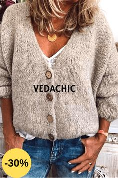 Casual Cotton-Blend V Neck Cardigan-Outerwear, Beige / XL Loose Sweater, Knit Cardigan, Long Sleeve Sweater, Fall Outfits, Casual Outfits, Casual Wear, Flannel Outfits, Casual Fall, Casual Shirts