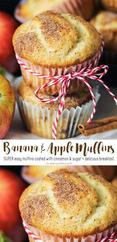 Banana Apple Muffins are a great way to start a fall morning. Loaded with cinnamon & apples, they really have all your favorite fall flavors. Kids love them!