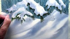 watercolor demonstration for painting snow, step by step tutorial