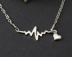 Electrocardiogram EKG Rhythm Heart Beat Necklace by UniqueAnomaly