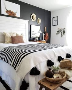Moroccan Pom Pom Blanket - white and black modern eclectic bedroom .-- Moroccan Pom Pom Blanket – white and black modern eclectic bedroom … Scandinavian Bedroom Decor, Simple Bedroom Decor, Bohemian Bedroom Decor, Home Decor Bedroom, Modern Bedroom, Bedroom Ideas, Bedroom Designs, Decor Room, Contemporary Bedroom