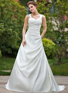 Vestidos de noiva - $234.99 - Vestidos princesa/ Formato A Coração Trem da capela Cetim Vestido de noiva com Pregueado Bordado (002000612) http://amormoda.pt/Vestidos-Princesa-Formato-A-Coracao-Trem-Da-Capela-Cetim-Vestido-De-Noiva-Com-Pregueado-Bordado-002000612-g612