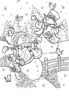Christmas art, decorative art by renowned painter Janet Stever Coloring Book Pages, Printable Coloring Pages, Snowman Coloring Pages, Christmas Colors, Christmas Art, Christmas Landscape, Christmas Coloring Sheets, Illustration Noel, Theme Noel