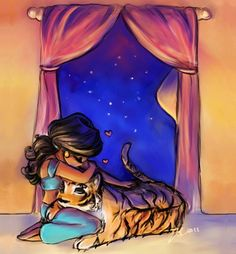 Jasmine and Rajah cartoon illustration via www.Facebook.com/GleamOfDreams