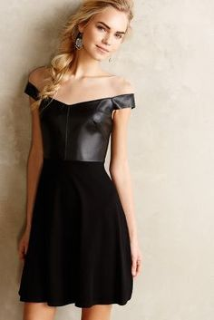 Anthropologie Ponte & Leather Flared Dress #AnthroFave