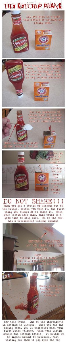 easy april fool's day pranks - The ketchup prank is extremely messy and not recommended to do in your own home. So do it at your friend's house #ad