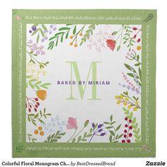 Colorful Floral Monogram Challah Dough Cover & Clo Cloth Napkin Custom Napkins, Monogram Wedding, Wedding Save The Dates, Cocktail Napkins, Mother Gifts, Unique Gifts, Floral Wreath, Challah, Colorful