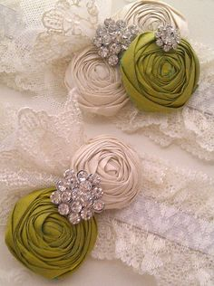 Fashion Emerald Wedding Garter Set  in Olive Grove by DeesByDesign, $40.00