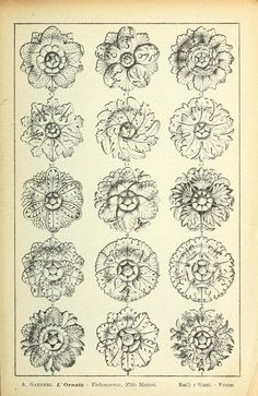 L'ornato : vademecum per architetti, calligrafi. Archive of old book search Wood Carving Designs, Wood Carving Patterns, Detail Architecture, Engraving Art, Motif Floral, Ceramic Flowers, Pattern And Decoration, Pattern Drawing, Gravure