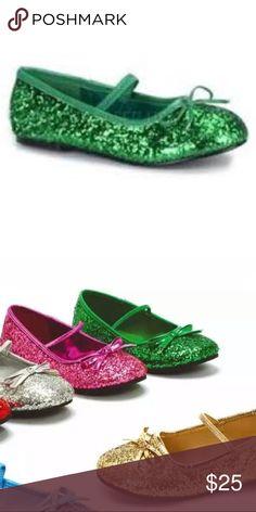 473081bae44a Ellie 013 Ballet green glitter shoes for girls Child shimmery glitter ballet-style  flat