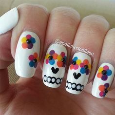 Dia De Los Muertos inspired nails. Instagram user apolishedcolleen