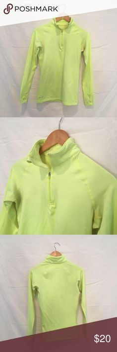 Nike Dri Fit Athletic Zip Up ✨ worn once - like new! ✨ neon green Dri Fit half zip from Nike - reflective Nike check on collar and thumb holes Nike Tops Sweatshirts & Hoodies