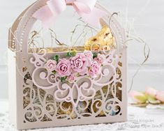 Today I am sharing a basket I made using a die from a new collection called Vignettes designed by Becca Feeken . The die I used is ca. Becca Feeken Cards, Card Basket, Vignette Design, Stepper Cards, Scrapbook Borders, Spellbinders Cards, Die Cut Cards, Creative Cards, Cute Cards