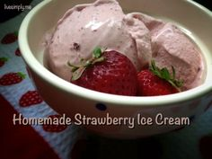 Homemade Strawberry Ice Cream: 100% real food!  livesimply.me
