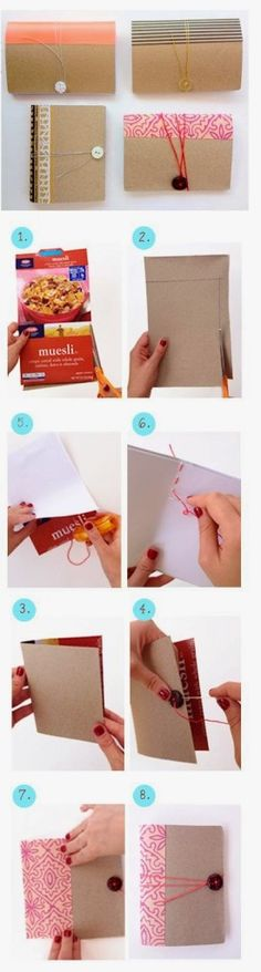 Diy Mini Notebook From Cereal Box - #crafts, #diy