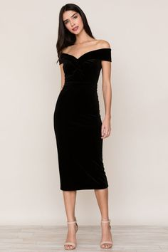 """<p><span>Luxe velvet and</span><span> off the shoulder, our Catwalk Dress is a modern take on the classic cocktail dress</span><span>. Details include a fitted off the shoulder bodice, pencil skirt, and hidden back zipper.</span></p> <style type=""""text/css"""" xml=""""space""""><!-- td {border: 1px solid #ccc;}br {mso-data-placement:same-cell;} --></style> <p><span>&... #Cocktaildresses"""