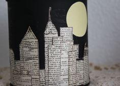 newspaper cutout skyline & moon