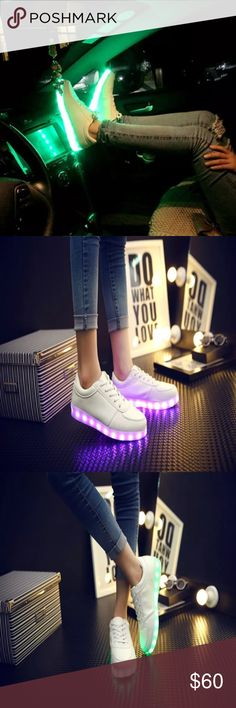 Led sneakers 7 colors of light Seven colors in one shoes:yellow,purple ,white,light blue,dark blue,orange ,green and flash light. You can control the Led light color while you move ,the switch just inside the shoes. It takes 3-5 hours to fully charge the led shoes. The Led light is up to 8-11 hours after fully charged.  The Light has the characteristics of water-proof, shock-proof, and blast-proof. Shoes Sneakers