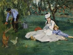 Paintings from The Metropolitan Museum of Art | Museum of Fine Arts, Boston.  The Monet Family in Their Garden at Argenteuil (1874) by Edouard Manet.