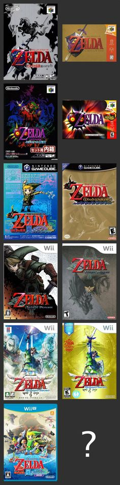 A comparison of the Japanese and US box art for all the 3D Zelda games