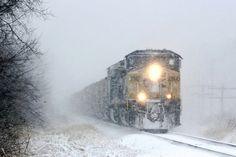 Cozy train ride in the snow...