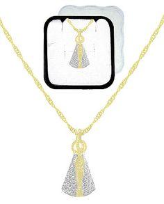 Gargantilha folheada a ouro c/ pingente de N. Sra. Aparecida e aplique prateado (acompanha caixinha em acrílico)
