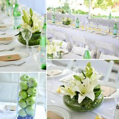 Kreative Tischdeko in Grün und Weiss
