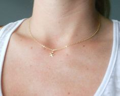 Tiny gold starfish necklace modern delicate by LemonSweetJewelry, $18.00 ...18 inch:)