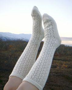White Long Knee-High Stocking Socks. 100% wool. Goat and sheep wool. Patterned knee socks. Free shipping.