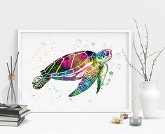 Watercolor Sea turtle Turtle Art Print Watercolor painting