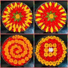 Floating flowers Rangoli Designs Flower, Rangoli Ideas, Flower Rangoli, Flower Mandala, Flower Art, Welcome Home Decorations, Diwali Decorations, Indian Wedding Decorations, Festival Decorations
