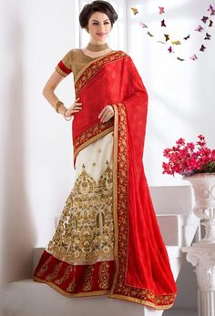 Designer Red Net And Jacquard #Lehenga #Style Saree #nikvik #usa #designer #australia #canada #freeshipping