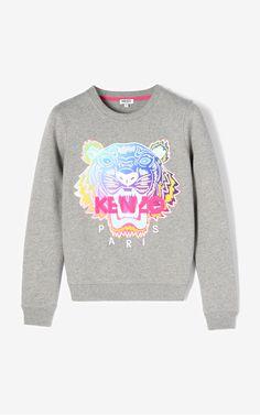 DOVE GREY Rainbow' Tiger Sweatshirt for women KENZO