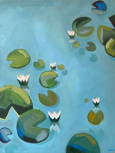 Waterlillies by Diana Dzene, oil painting, x done in April Garden Painting, Blue Painting, Painting Art, Oil On Canvas, Canvas Art, Original Art, Original Paintings, Z Arts, Water Lilies