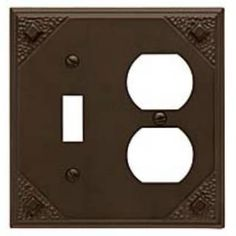 """Check out the Atlas Homewares MCCO-O Craftsman 4-1/2"""" Combo Outlet Switch Plate in Aged Bronze"""