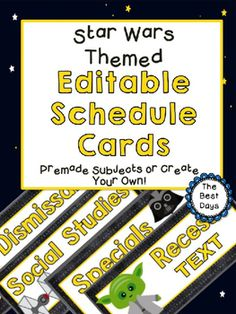 Decorate your classroom with the STAR WARS Themed Schedule Cards! This will add a finishing touch to any Star Wars classroom. Add times, print, cut, display, and you are ready to go! This product contains:-Pre-made schedule cards for:ReadingSmall GroupWhole GroupWord WorkWritingLunchRecessMathSpecialsScienceSocial StudiesAgendaDismissalFine ArtsJedi Warm-UpPlus 21 Blank Cards that you can use in multiple ways! 15 cards are decorated with characters!