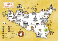 Sicily to discover by Federico Mariani in Colorful Map Illustration Designs