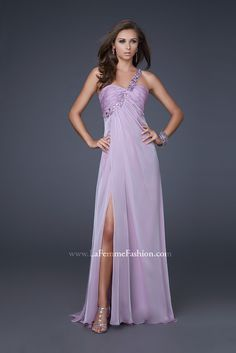 La Femme 15361 Lavender  ~ Amazing Grecian inspired gown with rouched bust and floral strap that decorates the front. Subtle front slit. ~ additional colors available check out our website ~ you can call us for more information about this dress 978-745-7775 ~ dress is available at www.glitteratistyle.com... call us 978-745-7775 Glitterati Prom & Pageant Superstore 121 Lafayette St. Salem, MA 01970