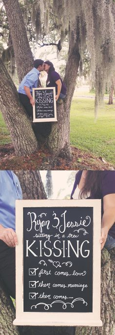Pregnancy Announcement || Chalkboard Art Baby Reveal || Ryan and Jessie sitting in a tree, k-i-s-s-i-n-g, first comes love, then comes marriage, then comes... || Short and Sweet Creative