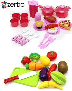 ZERBO Pretend Food Toy Playset - Mini 40 piece Home Kitchen Serving Food Play Set ** Check this awesome product by going to the link at the image.