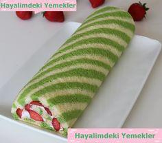 Çilekli Rulo Şerit Pasta