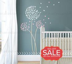 Löwenzahn Wandtattoo Schmetterlinge | Schmetterling benutzerdefinierte Baby Kinderzimmer, Kinderzimmer, Wohnraum Innenarchitektur | Einfache Anwendung | 034