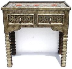 Hand hammered silver/wood Casablanca console