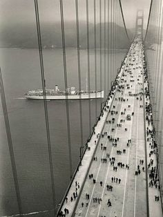 Golden Gate Bridge on opening day May 27, 1937